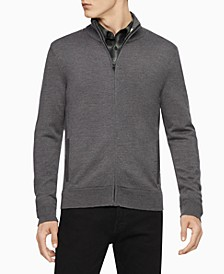 Men's Merino Wool  Full-Zip Sweater