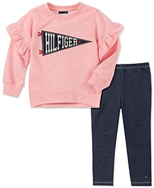 Toddler Girls 2-Pc. French Terry Sweatshirt & Denim Leggings Set