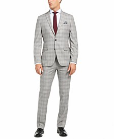Men's Slim-Fit Active Stretch Performance Black/White Houndstooth Plaid Suit Separates, Created for Macy's
