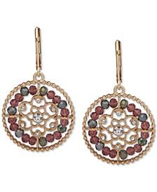 Gold-Tone Pavé & Bead Openwork Drop Earrings