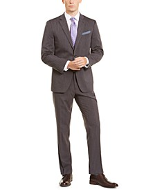 Men's Slim-Fit Stretch Dark Gray/Blue Stripe Suit