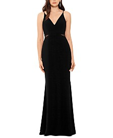 XSCAPE V-Neck Mesh-Detail Gown