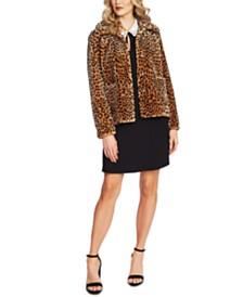 CeCe Leopard-Print Faux-Fur Jacket