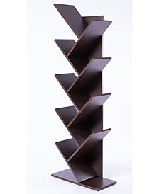 Wooden 9-Shelf Tree Magazine CD Storage Bookcase