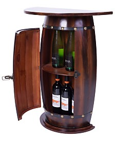 Vintiquewise Wooden Wine Barrel Console, Bar End Table Lockable Cabinet