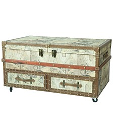 Old World Map Print Coffee End Table and Wine Bar Trunk with Sliding Top and Drawers