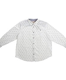 Clothing Big and Tall Long Sleeve All Over Printed Woven Shirt