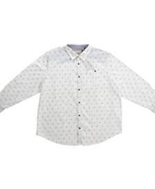 PX Clothing Big and Tall Long Sleeve All Over Printed Woven Shirt