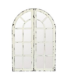 Set of 2 Wood Frame Window Panels with Mirror