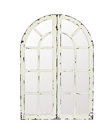 Luxen Home Set of 2 Wood Frame Window Panels with Mirror