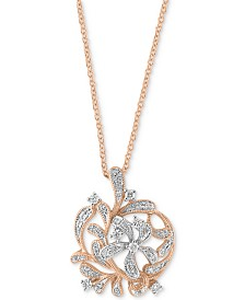 "EFFY® Diamond Floral 18"" Pendant Necklace (1/4 ct. t.w.) in 14k Rose Gold"
