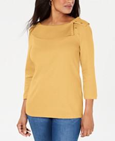Karen Scott Cotton Shawl-Collar Button Top, Created for Macy's