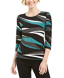 3/4-Sleeve Novelty Printed Jacquard Top, Created for Macy's