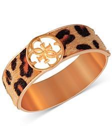 Gold-Tone Cheetah-Print Faux-Fur Animal Print Bangle Bracelet