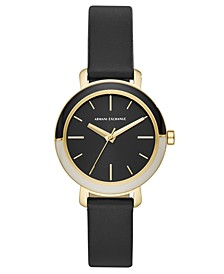 Women's Bette Black Leather Strap Watch 34mm