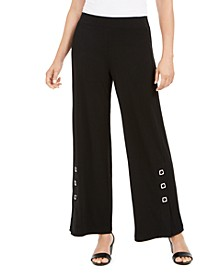 Grommet-Trim Wide-Leg Knit Pants, Created for Macy's