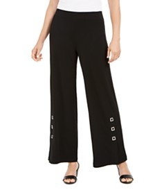 JM Collection Grommet-Trim Wide-Leg Knit Pants, Created for Macy's