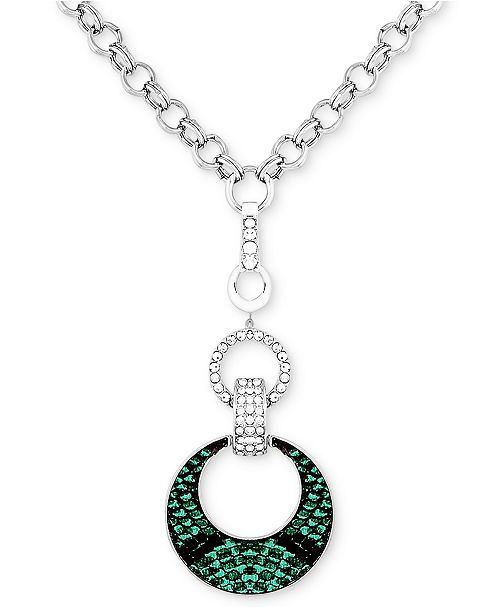 """GUESS Silver-Tone Crystal & Faux-Lizard-Print Animal Print Pendant Necklace, 30-1/2"""" + 2"""" extender"""
