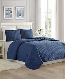 Super Soft Dot Embroidery Quilt Coverlet Set - King/Cal King