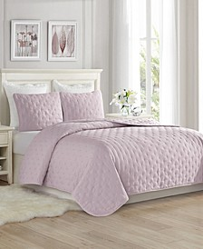 Super Soft Dot Embroidery Quilt Set - King/Cal King