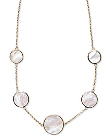 """Mother-of-Pearl Bezel-Set Statement Necklace in 18k Gold-Plated Sterling Silver, 16"""" + 2"""" extender"""