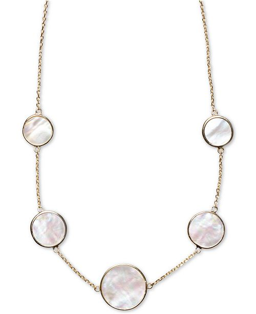"Macy's Mother-of-Pearl Bezel-Set Statement Necklace in 18k Gold-Plated Sterling Silver, 16"" + 2"" extender"