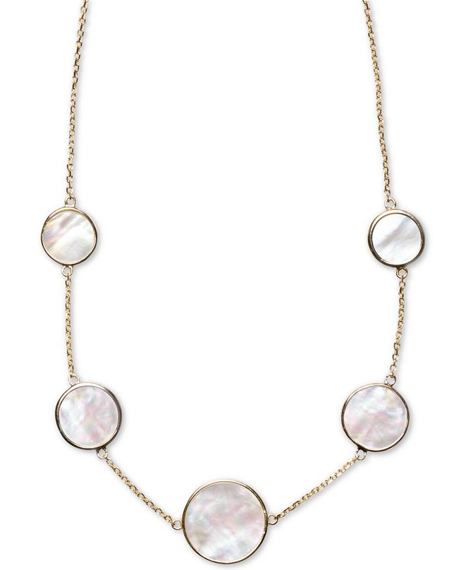 """Macy's Mother-of-Pearl Bezel-Set Statement Necklace in 18k Gold-Plated Sterling Silver, 16"""" + 2"""" extender"""