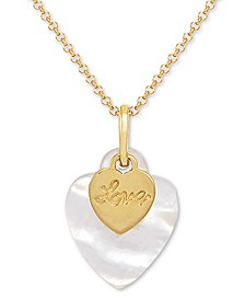 "Mother-of-Pearl ""Love"" Double Heart 18"" Pendant Necklace in 14k Gold-Plated Sterling Silver"