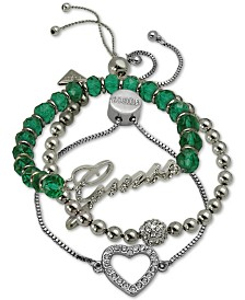 GUESS Silver-Tone 3-Pc. Set Crystal & Green Bead Bracelets
