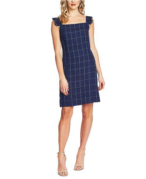 CeCe Windowpane-Print Ruffle-Strap Dress