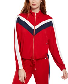 Tommy Hilfiger Sport Mock-Neck Chevron-Stripe Zip Jacket