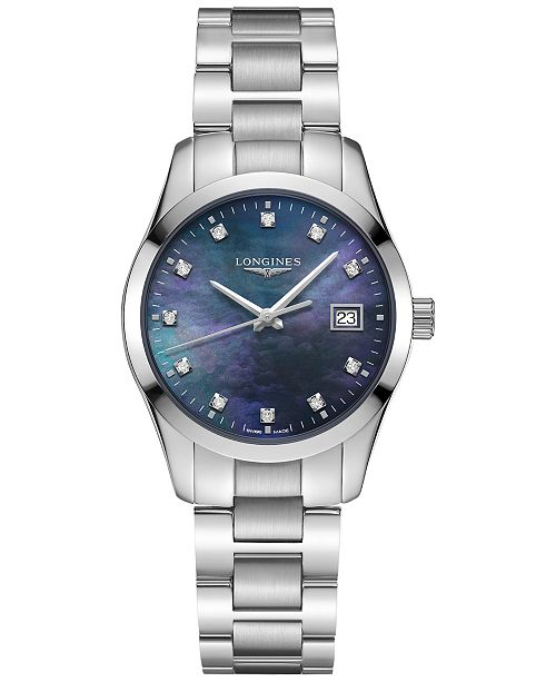 Longines Women's Swiss Conquest Classic Diamond Accent Stainless Steel Bracelet Watch 34mm
