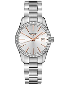 Women's Swiss Conquest Classic Diamond (5/8 ct. t.w.) Stainless Steel Bracelet Watch 34mm
