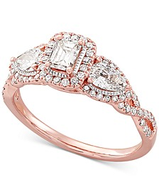 Diamond Halo Engagement Ring (1 ct. t.w.) in 14k Rose Gold