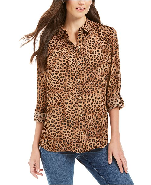 Charter Club Animal-Print Blouse, Created for Macy's
