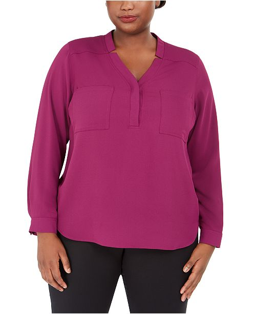 Nine West Plus Size Split-Neck Top