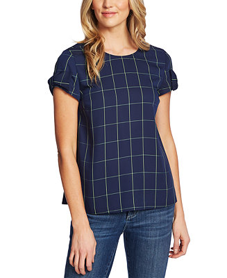 Windowpane Print Bow Cuff Top by General
