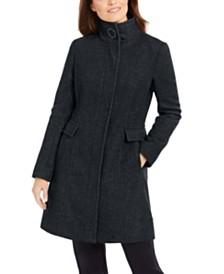 Calvin Klein Petite Stand Collar Walker Coat, Created for Macy's