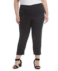 Plus Size Pinstriped Skinny Pants