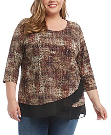 Plus Size Crossover Sheer-Hem Top