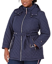 Plus Size Front-Zip Hooded Quilted Jacket