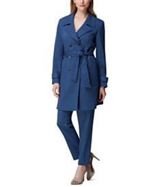 Tahari ASL Belted Trench Coat & Slim-Leg Pants