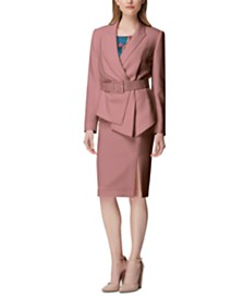 Tahari ASL Asymmetrical Blazer & Side-Slit Skirt