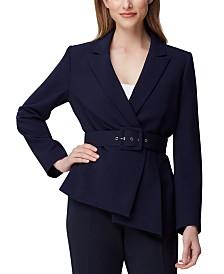 Tahari ASL Asymmetrical Belted Blazer
