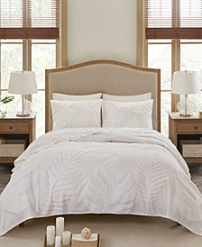 Bahari Full/Queen 3-Pc. Tufted Cotton Chenille Palm Coverlet Set