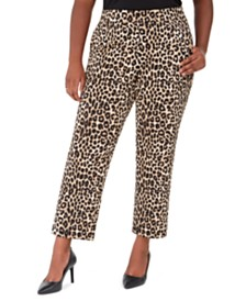 Michael Michael Kors Plus Size Animal-Print Wide-Leg Pants