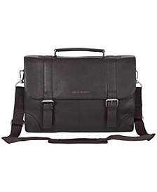 """Karino Leather Flap-over 15"""" Computer Case Bag"""