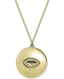 "Evil Eye Disc 18"" Pendant Necklace in Gold-Plate Over Sterling Silver"