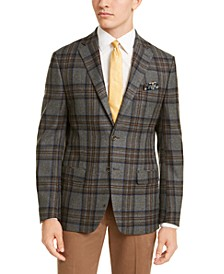 Men's Slim-Fit Gray/Blue Windowpane Plaid Sport Coat