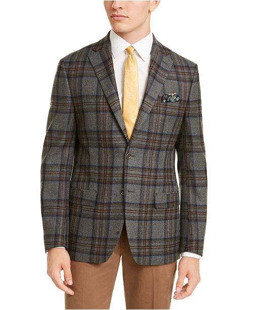 Tallia Men's Slim-Fit Gray/Blue Windowpane Plaid Sport Coat